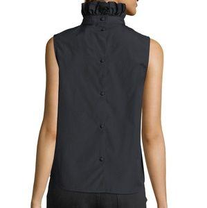 Frame white ruffled neck sleeveless poplin shirt
